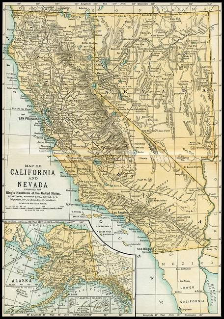 California Nevada Alaska Antique Map 1891 by Phil Cardamone