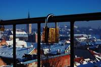 padlock with a view on Zagreb