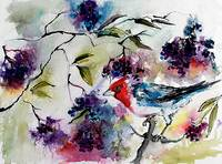 Bird in Elder Berries Watercolor by Ginette