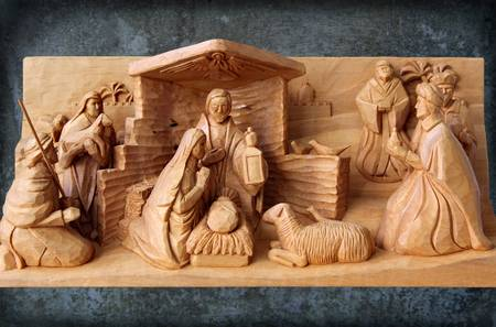 Christmas Creche with Patina by George Wood