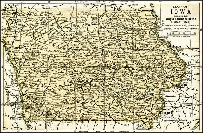Iowa Antique Map 1891 by Phil Cardamone