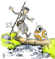 force awakens- bb8 and rey / calvin and hobbes