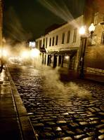 Night after rain, night street scene, landscape.