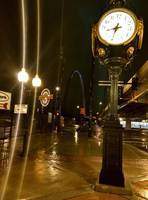 Clock on a street, night view, street view