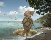 Elephant Parody of the Birth of Venus