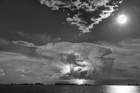 Mushroom Thunderstorm Cell Explosion and Full Moon