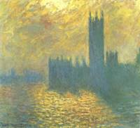 Claude Monet's Parlament in London's Stormy Day