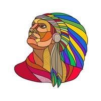 Native American Indian Chief Headdress Drawing