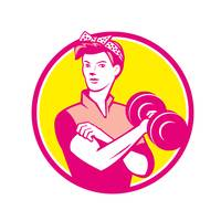 Vintage Woman Lifting Dumbbell Circle Retro