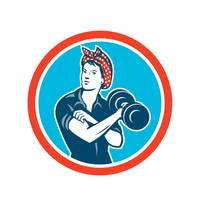 Bandana Woman Lifting Dumbbell Circle Retro