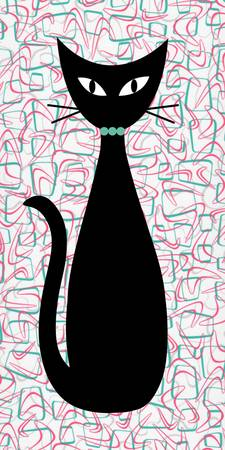 Boomerang Cat in Aqua and Pink