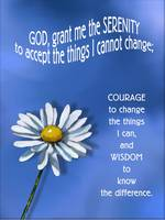 Serenity Prayer with Daisy Flower, Blue Background
