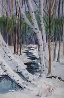 White Birches and Brimstone Brook