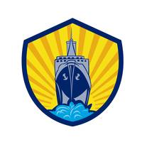 Passenger Ship Cargo Boat Crest Cartoon