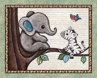 Little Elephant in a Tree. Treetop Jungle Buddies