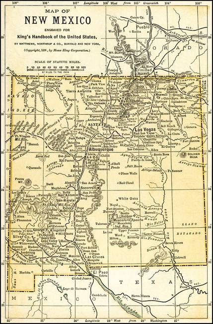 New Mexico Territory Antique Map 1891 By Phil Cardamone