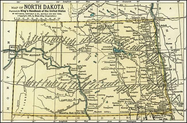 North Dakota Antique Map 1891 by Phil Cardamone