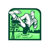 Martial Arts Fighter Kicking Cypress Tree Retro