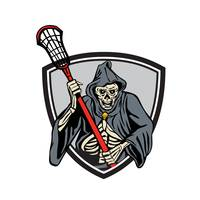Grim Reaper Lacrosse Player Crosse Stick Retro
