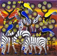 three zebra blue and yellow crow