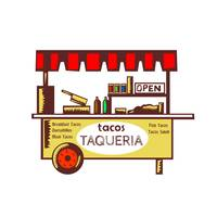 Taco Stand Taqueria Stand Woodcut