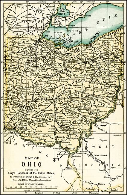 Ohio Antique Map 1891 by Phil Cardamone