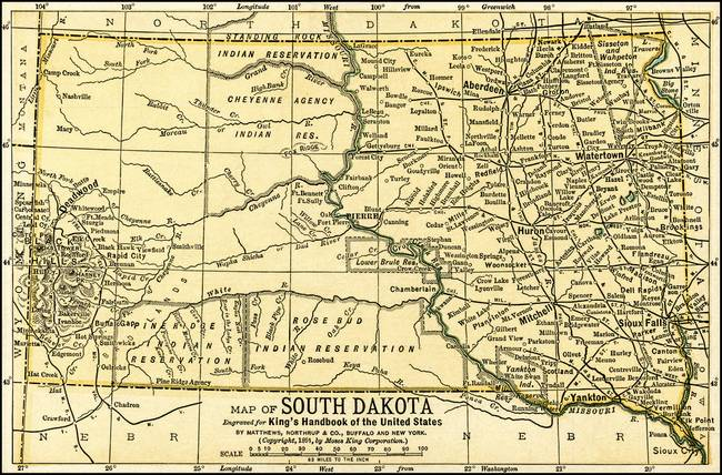 Stunning Antique Map Of South Dakota Artwork For Sale On Fine - Map of south dakota