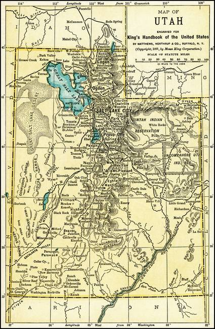 Utah Antique Map 1891 by Phil Cardamone