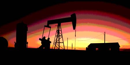 Oil Well Gas Urban Industrial Art Dramatic