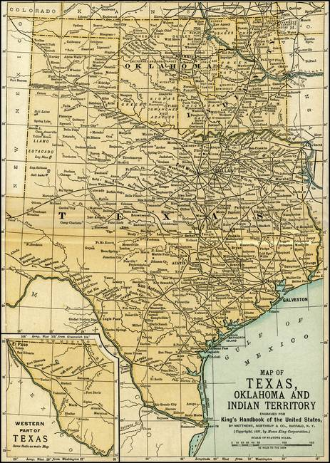 Oklahoma and Texas Antique Map 1891 by Phil Cardamone
