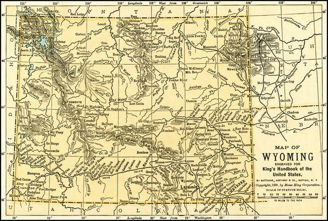 Wyoming Antique Map 1891 By Phil Cardamone