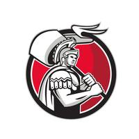 Roman Centurion Carry Flag Circle Retro