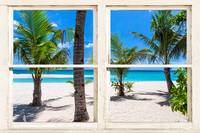 Tropical Island Rustic Window View