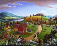 Blackberry Patch Barn Rural Country Farm Folk Art
