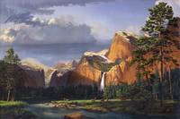 Deer Meadow Stream Waterfall Mountain Landscape