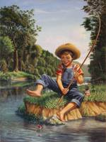 Boy Fishing River Appalachian Country Landscape