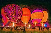 Glowing Hot Air Balloons In Abstract