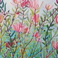Hummingbird In Pink Bush Art Prints & Posters by Mishelle Tourtillott