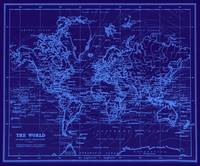 World Map (1899) Blue & Light Blue