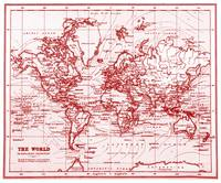 World Map (1899) White & Red