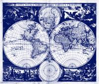 Vintage Map of The World (1685) Blue & White