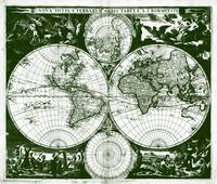 Vintage Map of The World (1685) Green & White