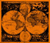 Vintage Map of The World (1685) Black & Orange