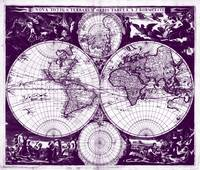 Vintage Map of The World (1685) Purple & White