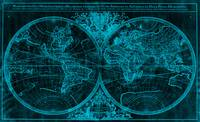 World Map (1691) Black & Blue