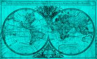 World Map (1691) Turquoise & Black