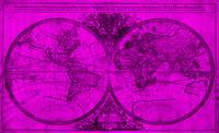 World Map (1691) Pink & Black