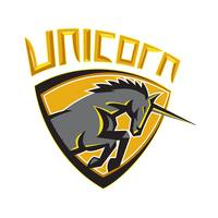 Black Unicorn Horse Head Charging Crest Retro