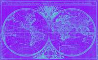 World Map (1691) Purple & Blue