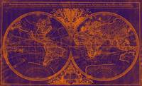 World Map (1691) Purple & Orange